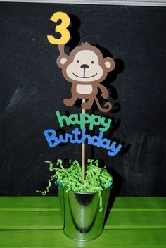 Monkey Cake Topper With Child Age And Happy by UniquePartyCraft, $9.00