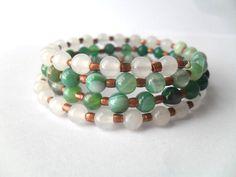Boho Chic Gem Bangle Bracelet White Jade and Green by IyanaDesigns