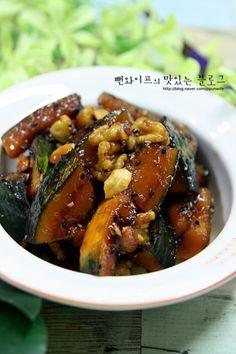 입에 살살 녹는 견과류 단호박조림 : 네이버 블로그 Authentic Korean Food, Best Korean Food, Easy Cooking, Healthy Cooking, Cooking Recipes, Korean Dishes, Healthy Menu, Food Design, Food Plating