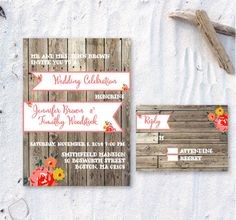 Printable Wood Floral Invitation by ChirpPaperie on Etsy