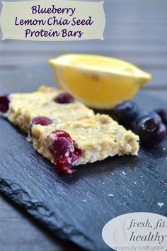 Blueberry Lemon Chia Seed Protein Bars - FreshFitnHealthy Serving size: ⅛ Calories: 94 Fat: 3.0 Saturated fat: .6 Carbohydrates: 8.0 Sugar: 2.2 Fiber: 2.3 Protein: 9.8