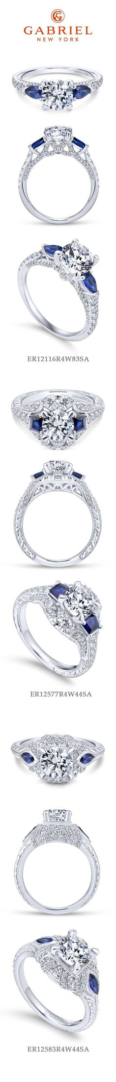 Gabriel NY - Preferred Fine Jewelry and Bridal Brand. Our Top 3 Sapphire Engagement Rings!  1) 18k White Gold Round 3 Stones 2) 14k White Gold Round 3 Stones 3) 14k White Gold Round 3 Stones halo