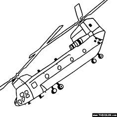 CH 47SD Chinook Helicopter Online Coloring Page