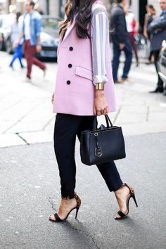 Tuxedo Vest: Spotted on runways and streets during fashion month, pastels are having a major moment this season. This menswear-inspired work-ready look is a flawless rendition of the traditional power suit, shoulder pads not included. (via With Love from Kat)