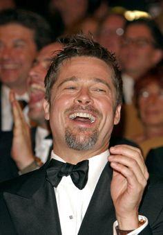Brad Pitt having a good laugh