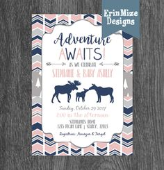 Excited to share the latest addition to my #etsy shop: Adventure Awaits, Baby Girl, Moose, pink, navy, grey, arrows, boho, rustic, baby shower invitation, annoumcement #papergoods #babyshower #gray #adventureawaits #babygirl #bohobaby