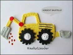 crochet applique Excavators (free choice of color) (German pattern for sale) Crochet For Boys, Knit Or Crochet, Crochet Motif, Crochet Crafts, Crochet Flowers, Crochet Toys, Crochet Projects, Crochet Patterns, Applique Patterns