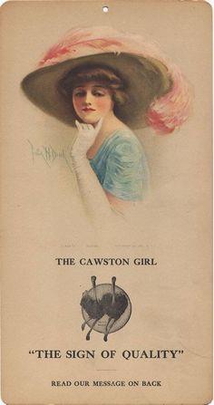 "Cawston Advertising Card: The Cawston Girl ""Eloise"", c. 1914-1924 ad for Cawston Ostrich Farm, South Pasadena California via University of California Libraries"