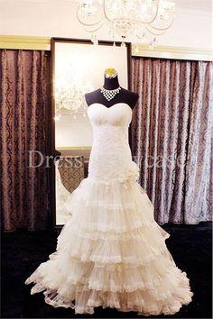 Ivory Satin/ Crepe Netting Dropped Fit-n-Flare Corset-back Sweetheart Wedding Dresses 2014 #wedding #weddinggown #weddingdress #dress #fashion #bigday #womenfashion #womenwear #2015wedding