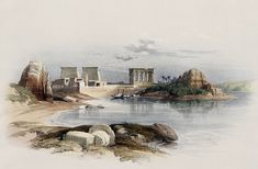 David Roberts Paintings : The Ancient Egpyt and Egyptian Architectures - Paintings of Ancient Egypt : View Of Philae From Nile, 24 Life In Ancient Egypt, Life In Egypt, Old Egypt, Egyptian Drawings, Land Before Time, Rock Design, New York Public Library, Print Artist, Ancient Civilizations