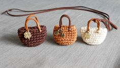 Firefly Crochet mini bags ✤ key fob, lucky charm // cappuccino colors