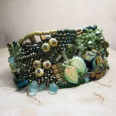 Freeform Peyote Cuff Bracelet Greens Teal by StoneDesignsbySheila
