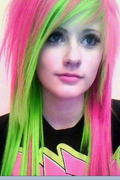 Pink and green on emo girl.
