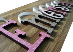 **UPDATED PHOTOS!! **  Nursery Wall Hanging Letters Baby Name Custom by chathamplace, $7.99