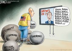 The mainstream media want to keep focusing on Russia while the rest of the country are tired of it. Political Cartoon by A.F. Branco ©2017.