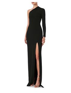 Solace London Nadia One Shoulder Gown: Black