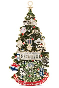 The 2015 Official White House Christmas Ornament honors President Calvin Coolidge and the first electric Christmas tree. The 24-karat gold plated Christmas tree ornament lights up and features scenes from Coolidge's life including a baseball, a radio microphone, a cowboy hat and Mount Rushmore. The ornament is made in America and proceeds benefit the non-profit organization dedicated to preserving the history of the White House.
