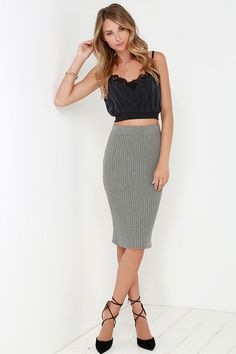 Glamorous VIP Lounge Grey Bodycon Midi Skirt at Lulus.com!
