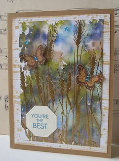 Lovely use of alcohol inks and embossing powder. Hero Arts digital stamps.   Jacqueline.fr