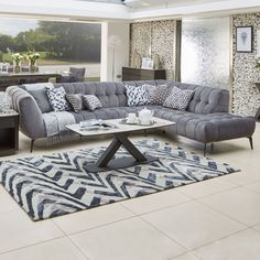 A contemporary, urban-inspired grey velvet corner group with button detailing; perfect for creating an air of modern day sophistication in any living area. Grey Leather Corner Sofa, Silver Sofa, Home Furniture Online, Beautiful Sofas, Living Room Goals, Buy Sofa, Comfy Sofa, Piece A Vivre, Large Sofa