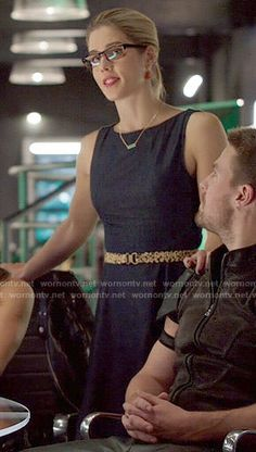 Felicity's denim fit and flare dress on Arrow.  Outfit Details: http://wornontv.net/54140/ #Arrow