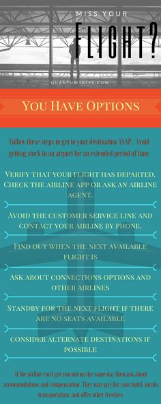 If you have arrived at the airport after departure time for any reason you will need to get rebooked. Follow these steps to get moving fast!