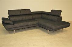 Grappa stof sofa m. chaiselong + nakkestøtter