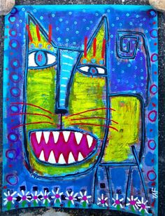 Tracey Ann Finley Original Outsider Raw Folk Painting Yellow Stray CAT on Paper #OutsiderArt