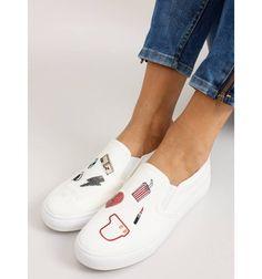 Trampki slip-on z haftami NB102P White - Sklep IMMODA.pl Mokasyny damskie, lordsy i balerinki Superga, Slip On, Sneakers, Shoes, Fashion, Tennis, Moda, Slippers, Zapatos
