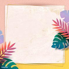 Blank square leafy frame design | premium image by rawpixel.com / Adj Flower Background Wallpaper, Glitter Background, Background Patterns, Cool Backgrounds, Flower Backgrounds, Pink And Gold Wallpaper, Interior Design Sketches, Isometric Design, Borders For Paper