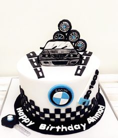 Bmw Cake, Cake For Husband, Birthday Cakes For Men, Happy A, Bmw M4, Themed Cakes, Baking Recipes, Fondant, Cake Decorating