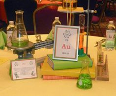 Angela S's Bar Mitzvah / Chemistry - Photo Gallery at Catch My Party Mad Science Party, Science Wedding, Mad Scientist Party, Science Fair, Science Experiments, Bar Mitzvah Party, Bat Mitzvah, Party Table Centerpieces, Table Decorations
