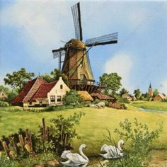 Ceramic collectible scenic tile made in Holland featuring a Dutch scene of a windmill next to a river with swans which is painted by famous Dutch landscape artist JC van Hunnik. Approximate Dimensions (Length x Width x Height): Material Type: Ceramic Holland Windmills, Old Windmills, Delft, Windmill Art, Le Moulin, Landscape Paintings, Paris Skyline, Cool Art, Fine Art