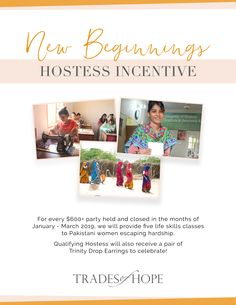 Trades of Hope Life Skills Class, New Beginnings, Fair Trade, Pakistan, January, Frame, Earrings, Women, Stud Earrings
