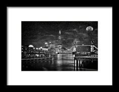 """London City At Night framed print by Andrew Hunter.   Bring your print to life with hundreds of different frame and mat combinations. Our framed prints are assembled, packaged, and shipped by our expert framing staff and delivered """"ready to hang"""" with pre-attached hanging wire, mounting hooks, and nails."""