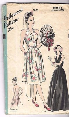 """Vintage 1940's Sewing Pattern Hollywood 1871 Wartime Dress B32"""" Missing Pieces #Hollywood"""