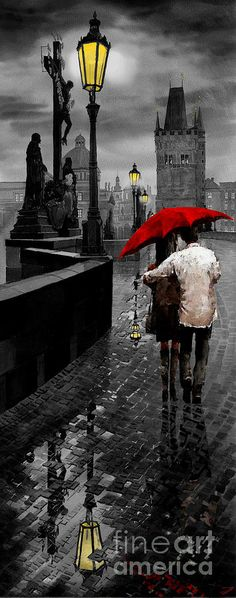 Mix Media Mixed Media - Red Umbrella 2 by Yuriy Shevchuk