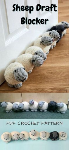 Crochet Pattern for Adorable Sheep Draft Blocker Door Stop! Warm up your house with this cute row of sheep keeping the cold out Pattern for Adorable Sheep Draft Blocker Door Stop! Warm up your house with this cute row of sheep keeping the cold out! Crochet Simple, Crochet Diy, Easy Crochet Projects, Crochet Gifts, Crochet Dolls, Knitting Projects, Knitting Patterns, Sewing Projects, Crochet Patterns