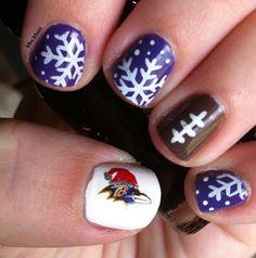 Baltimore Ravens Nails - Week 16 - Puple Snowflakes