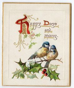 1914 RAPHAEL TUCK & SONS CHRISTMAS GREETING BOOKLET*POEMS*HOLLY*BIRDS*EMBOSSED*