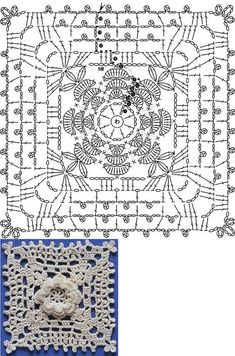 Crochet Heklanje plus : Šema 301 - Cvjetni motiv Crochet Stitches Chart, Crochet Motif Patterns, Crochet Lace Edging, Crochet Blocks, Crochet Squares, Crochet Patterns Amigurumi, Crochet Flowers, Crochet Bedspread, Crochet Afghans