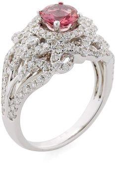 Royal Wedding Ring. Danni Women's 14K White Gold, 1.33 Total Ct. Diamond & Pink Tourmaline Tiara Ring