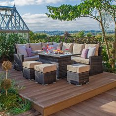 Belinda 10 Seater Corner Dining Set with Cushions Kampen Living Colour (Frame/Cushion): Willow/Beige Corner Garden Furniture, Rattan Garden Furniture, Outdoor Furniture Sets, Corner Dining Set, Corner Sofa Set, Dinning Set, Metal Table Frame, Rattan Corner Sofa, Solid Wood Table Tops