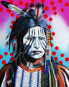 Native Americans Indians - Sacred Raven ~ by Riel Benn