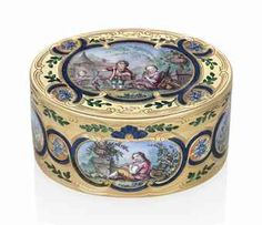 A FRENCH LOUIS-XV STYLE ENAMELLED GOLD SNUFF-BOX PROBABLY PARIS, CIRCA 1900/1920, BEARING SPURIOUS MARKS FOR JEAN GEORGE, THE PARISIAN DATE LETTER FOR 1756 AND THE CHARGE AND DECHARGE MARKS OF JULIEN BERTHE AND TWO FRENCH IMPORT MARKS FOR GOLD, THE FLANGE ALSO ENGRAVED 'GEORGE A PARIS', INTERIOR STAMPED 479