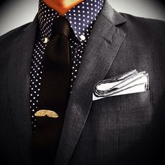 Brown Tie, Blue & White Polka Dot Shirt, Gray Suit