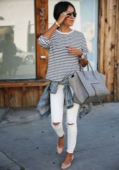 Perfect spring and summer outfit. The scalloped flats are adorable and the denim jacket is a nice accent accessory. #whitejeans #denim #stripes #ShopStyle #SpringStyle #SummerStyle #WeekendLook #TravelOutfit #OOTD #shopthelook