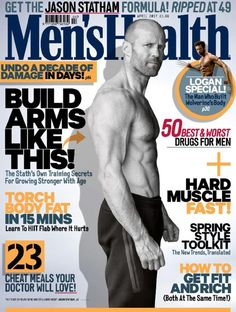 Shirtless: Jason Statham has posed in just his bottoms for the latest issue of Men's Health magazine Jason Statham, Wellness Quotes, Health Quotes, Mens Health Uk, Uk Magazines, Sds Plus, Health Magazine, Media Magazine, Male Magazine