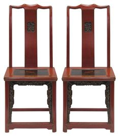 Chinese Wedding Chairs 19th Century Carved Chairs Red Lacquered Chairs