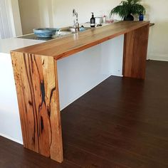 Recycled Messmate waterfall bench top for a client in Ringwood, Victoria. Always love seeing reclaimed local hardwood going back into the community. Interior Design Living Room Warm, Kitchen Interior, Kitchen Decor, Kitchen Island Bench, Kitchen Benches, Kitchen Island Extension Ideas, Kitchen Bar Design, Kitchen Styling, Timber Kitchen